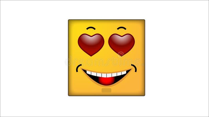 Kwadratowi smilies Mi?o?? royalty ilustracja