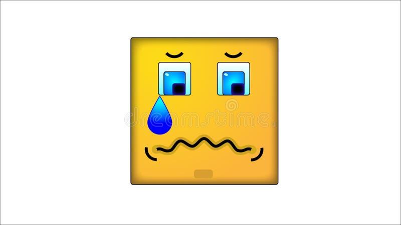 Kwadratowi smilies smucenie ilustracja wektor