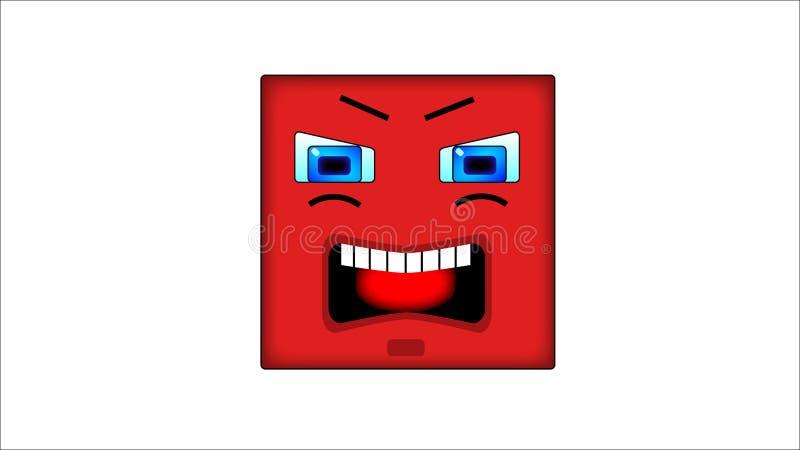 Kwadratowi smilies z?o?? ilustracja wektor
