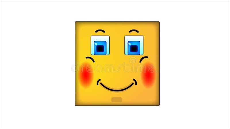 Kwadratowi smilies zawstydzenie ilustracja wektor