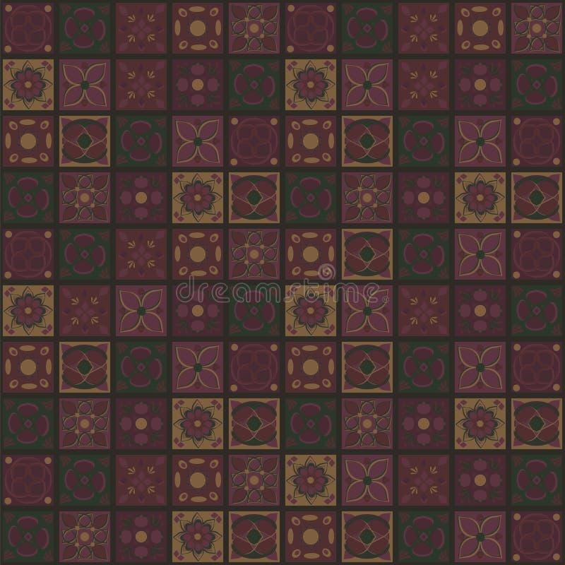 Kwadratowi wektorowi indianów ornamentów szaliki kontrastuje purpurową żółtą zieleń kwitną jarzynowej kwiecistej mozaiki oriental royalty ilustracja