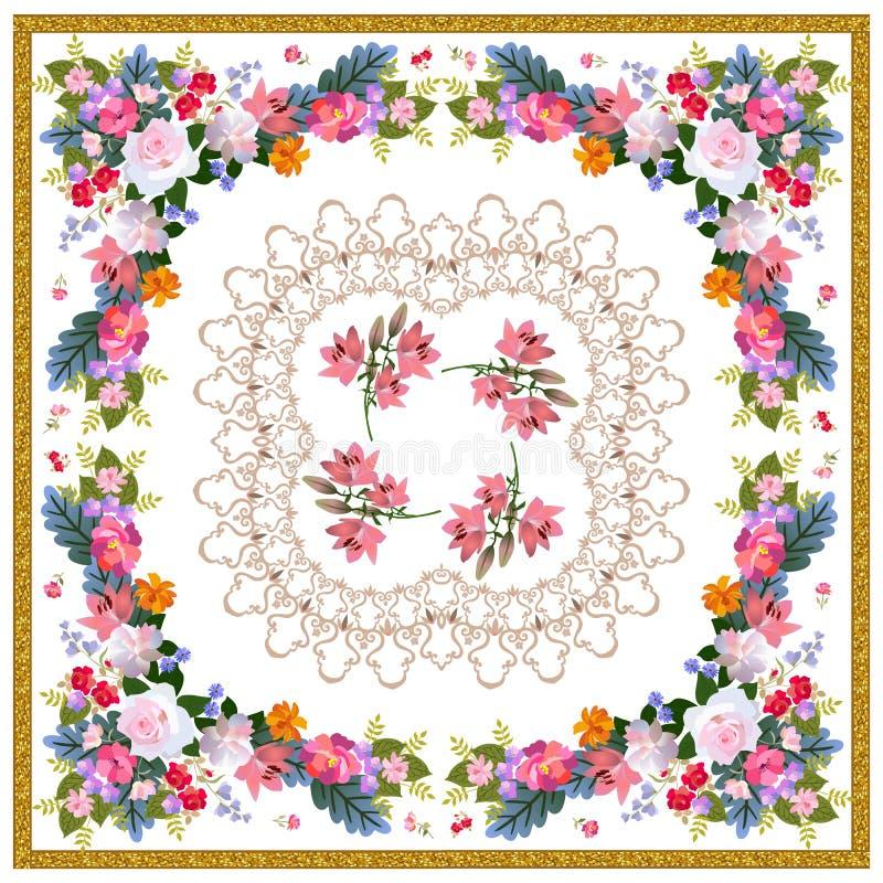 Kwadratowy bandana druk z luksusowym kwiecistym ornamentem, stylizowana koronka i złota rama na białym tle w rosyjskim ludzie, pr ilustracja wektor