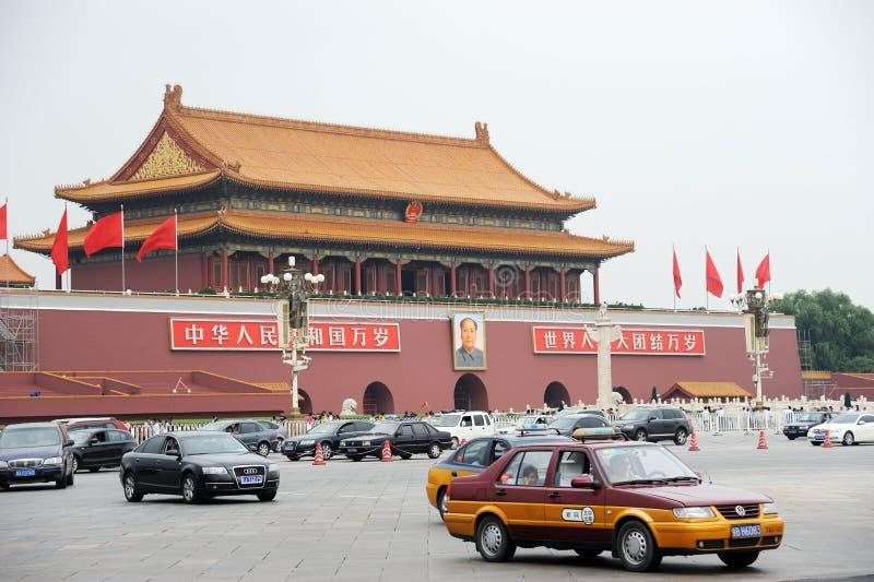 kwadratowy Beijing ruch drogowy Tiananmen obrazy stock