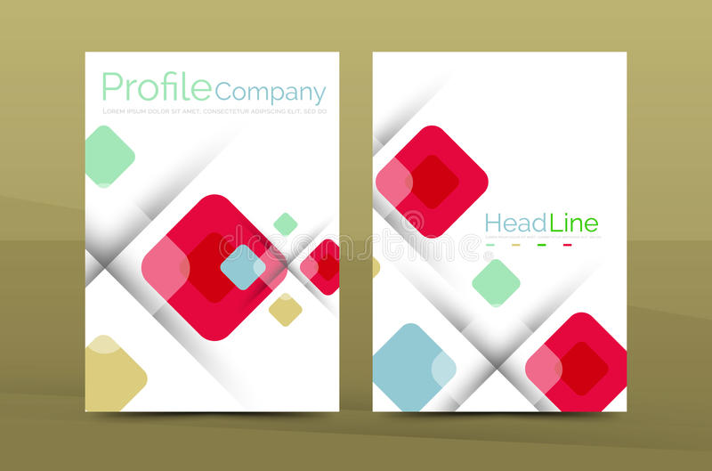 Kwadratowy biznesowy abstrakcjonistyczny tło, korporacyjny druku szablon royalty ilustracja