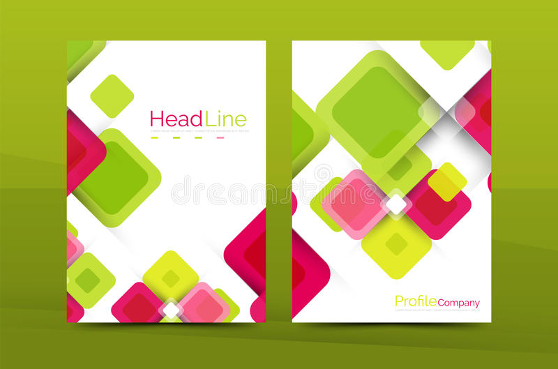 Kwadratowy biznesowy abstrakcjonistyczny tło, korporacyjny druku szablon ilustracja wektor