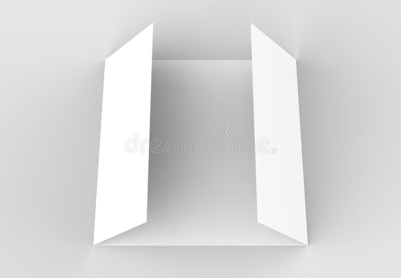 Kwadratowy brama fałdu broszurki egzamin próbny up na miękkim szarym backgrou ilustracja wektor