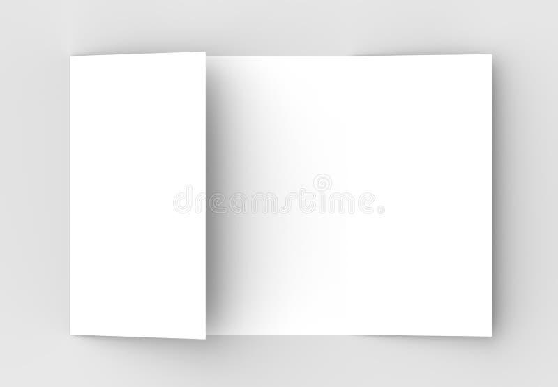Kwadratowy brama fałdu broszurki egzamin próbny up na miękkim szarym backgrou ilustracji