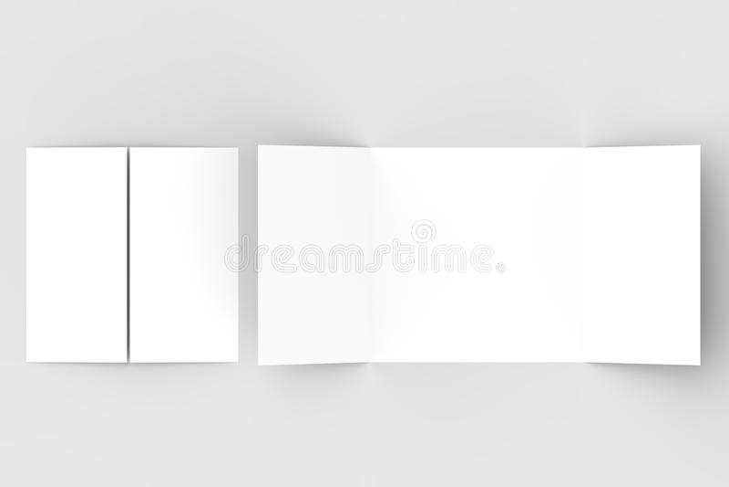 Kwadratowy brama fałdu broszurki egzamin próbny up odizolowywający na miękkim szarym backgrou ilustracji