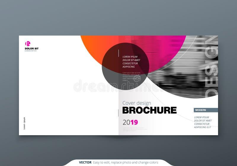 Kwadratowy broszurka projekt Magenta czerwona korporacyjnego biznesu prostokąta szablonu broszurka, raport, katalog, magazyn Bros ilustracja wektor