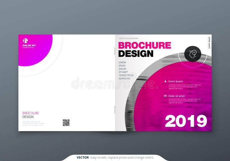 Kwadratowy broszurka projekt Magenta korporacyjnego biznesu prostokąta szablonu broszurka, raport, katalog, magazyn Broszurka royalty ilustracja