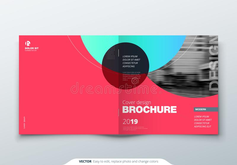 Kwadratowy broszurka projekt Magenta korporacyjnego biznesu prostokąta szablonu broszurka, raport, katalog, magazyn Broszurka ilustracja wektor