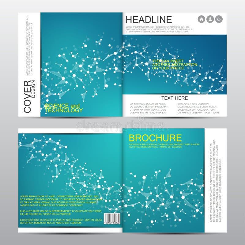 Kwadratowy broszurka szablon z cząsteczkową strukturą geometryczny abstrakcjonistyczny tło Medycyna, nauka, technologia wektor royalty ilustracja