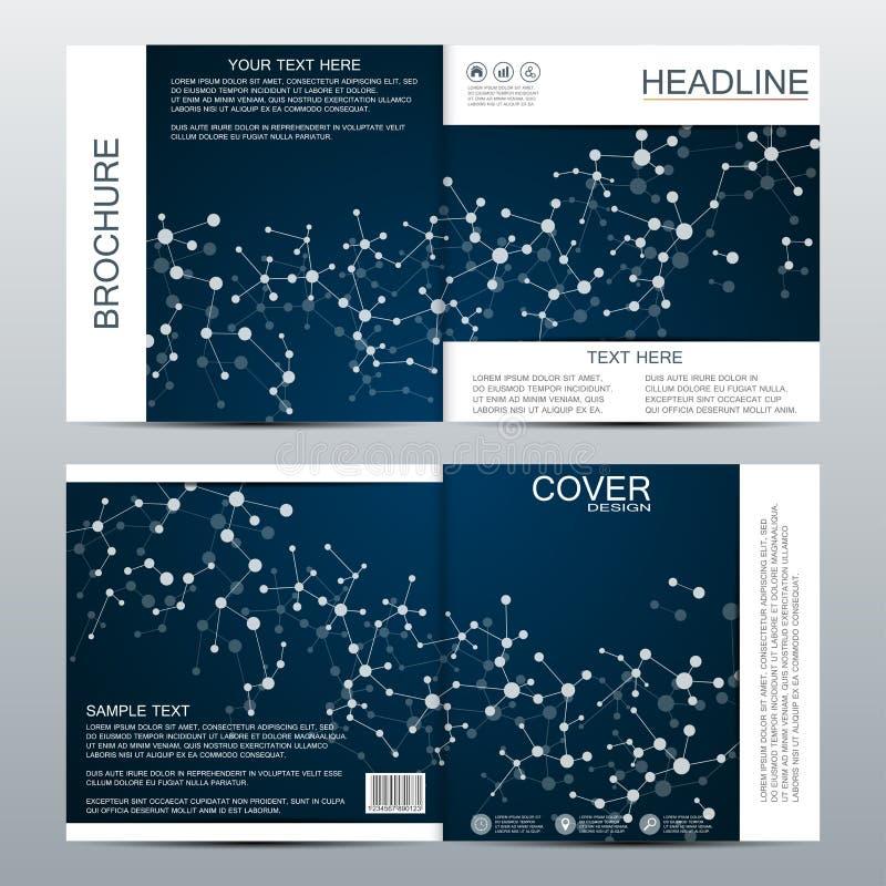 Kwadratowy broszurka szablon z strukturą cząsteczkowe cząsteczki i atomu tła medycyny poligonalna abstrakcjonistyczna nauka royalty ilustracja