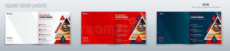 Kwadratowy broszurka szablonu uk?adu projekt z tr?jbokami Korporacyjnego biznesu broszurki sprawozdanie roczne, katalog, magazyn ilustracji