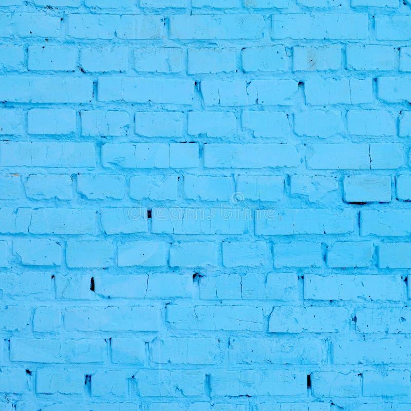 Kwadratowy cegła bloku ściany tło i tekstura Malujący w błękicie zdjęcie royalty free