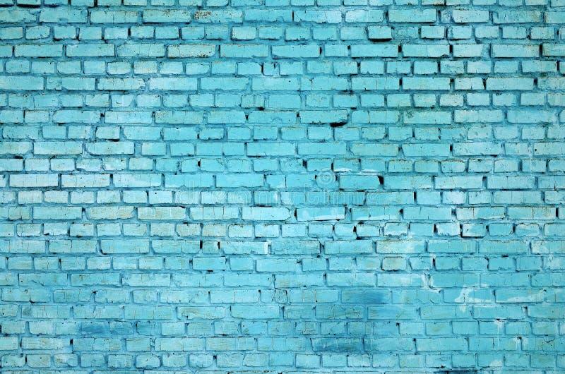 Kwadratowy cegła bloku ściany tło i tekstura Malujący w błękicie obraz royalty free