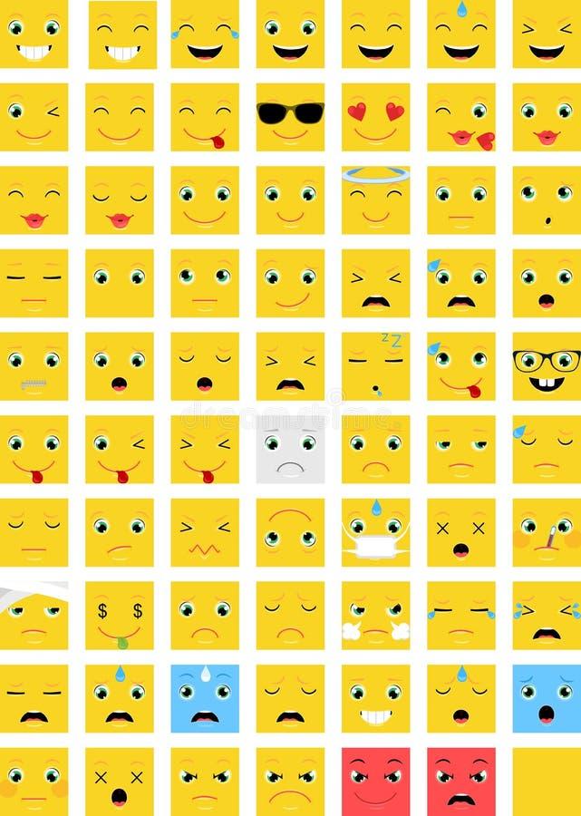Kwadratowy Emoticons wektoru set royalty ilustracja