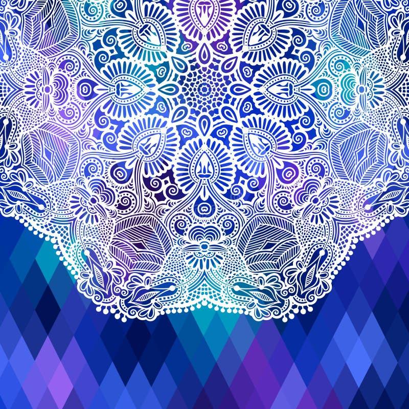 Kwadratowy geometryczny skład z etnicznym kwiatem ilustracja wektor