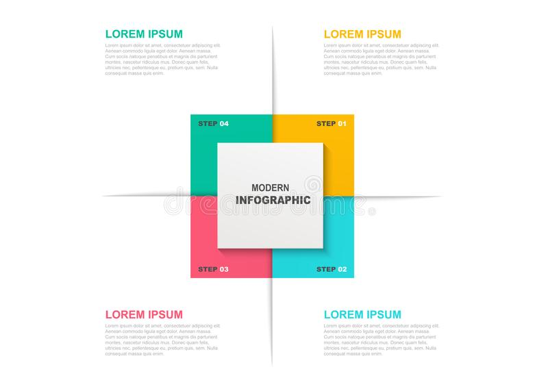 Kwadratowy infographic szablon z ikonami, 4 opcje i kroki lub Biznesowy pojęcie, obieg układ, flowchart royalty ilustracja