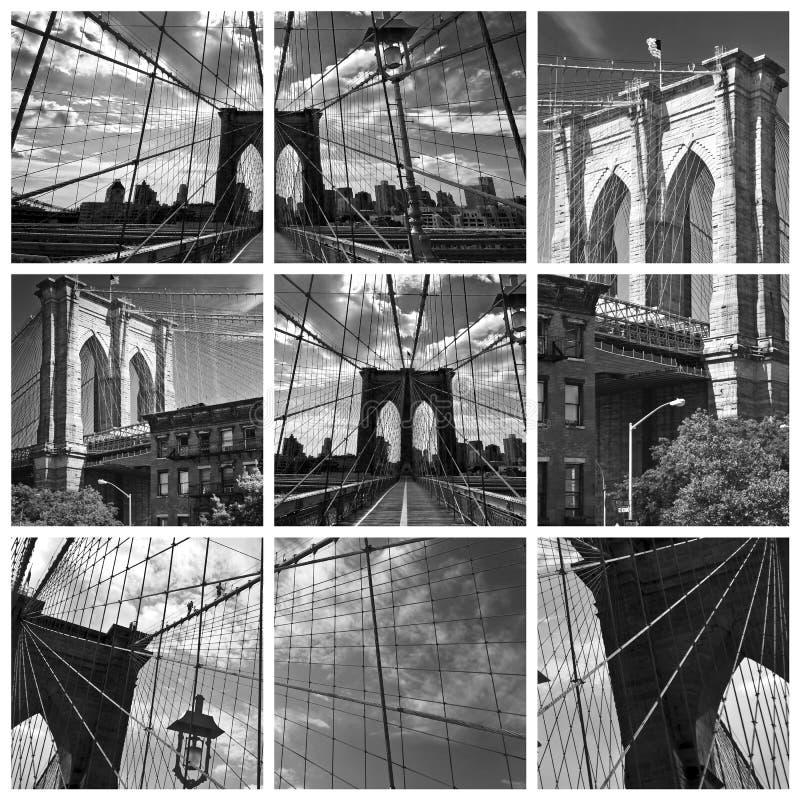 Kwadratowy kolaż most brooklyński obraz stock