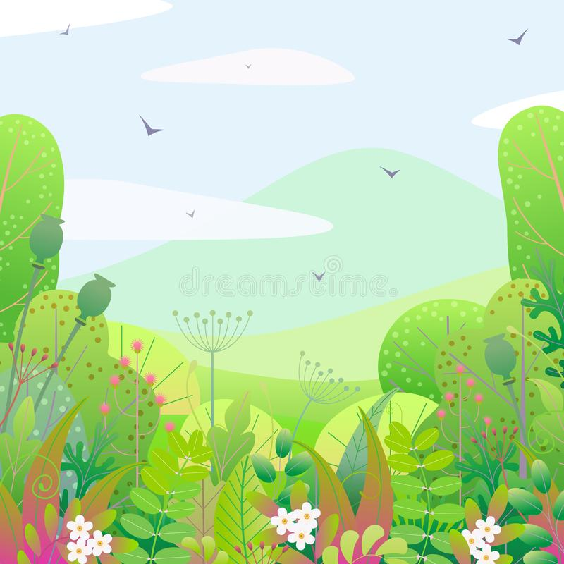 Kwadratowy Kwiecisty granicy i wiosny krajobraz ilustracji