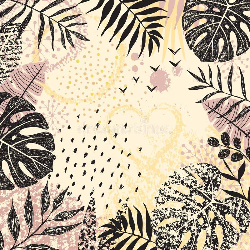 Kwadratowy Kwiecisty tło z Monochromatycznymi Tropikalnymi liśćmi royalty ilustracja