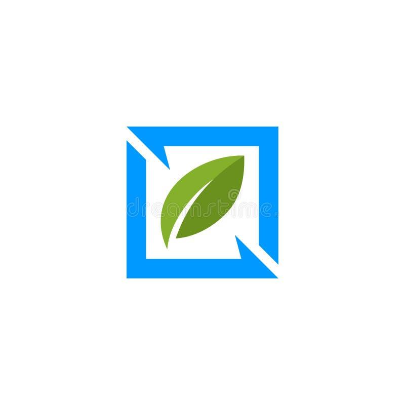 Kwadratowy liść natury logo ilustracja wektor