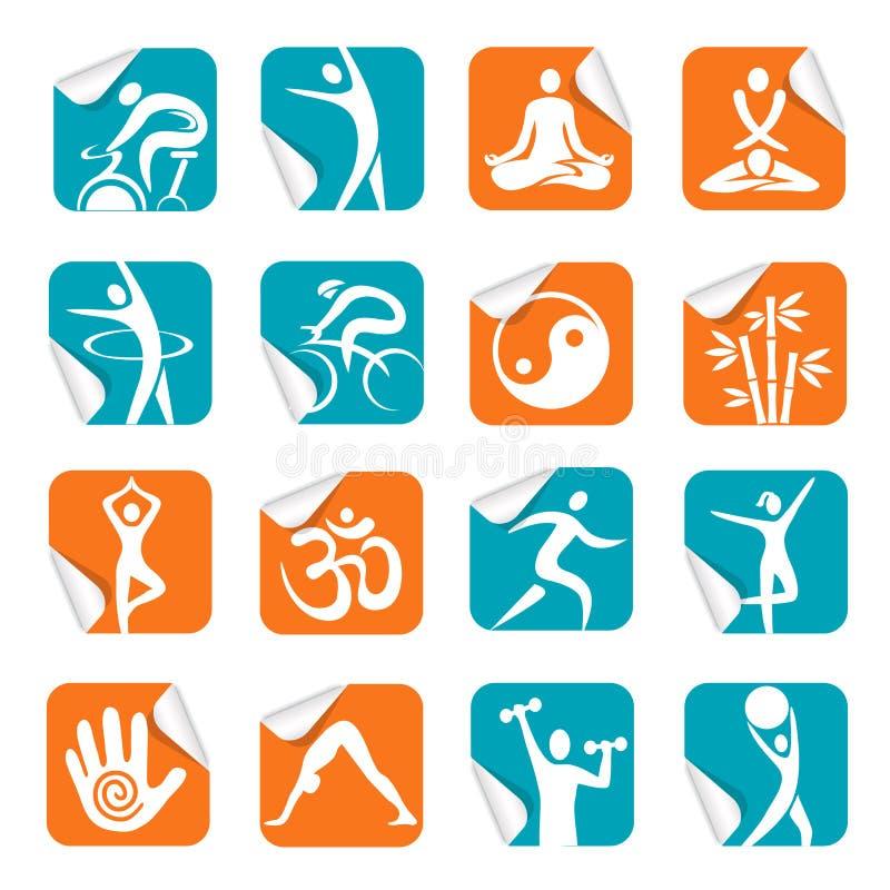 Kwadratowy majcher z joga zdroju sprawności fizycznej ikonami royalty ilustracja