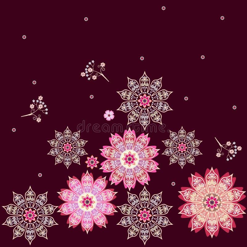 Kwadratowy niekończący się etniczny ornament z kolorowymi kwiatów mandalas w wektorze Indianin, arabscy motywy Druk dla tkaniny royalty ilustracja