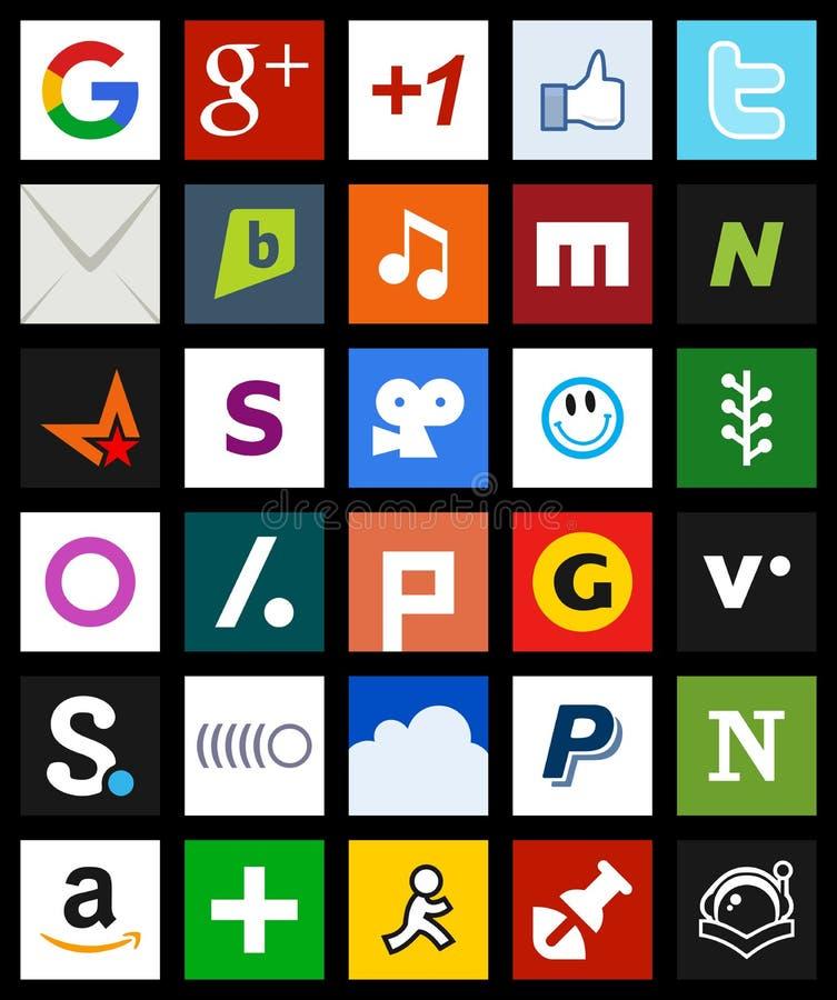Kwadratowy Ogólnospołeczny Medialny ikony metra styl [2] royalty ilustracja