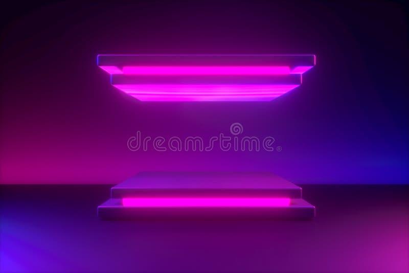 Kwadratowy podium z błękit menchii neonowym światłem, minimalistic praforma kształtuje ilustracja wektor