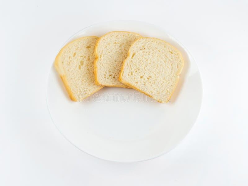 Kwadratowy Prosty chleb na białym tle, odgórny widok obrazy stock