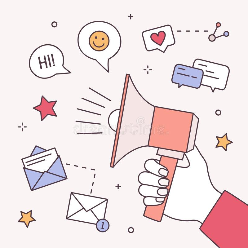 Kwadratowy skład z ręki mienia megafonem lub megafonem, internetów symbole SMM, online zadowolony zarządzanie, promocja ilustracji