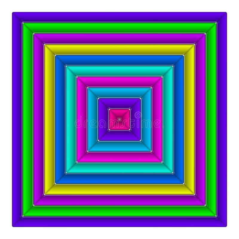 Kwadratowy stubarwny guzik ilustracja wektor