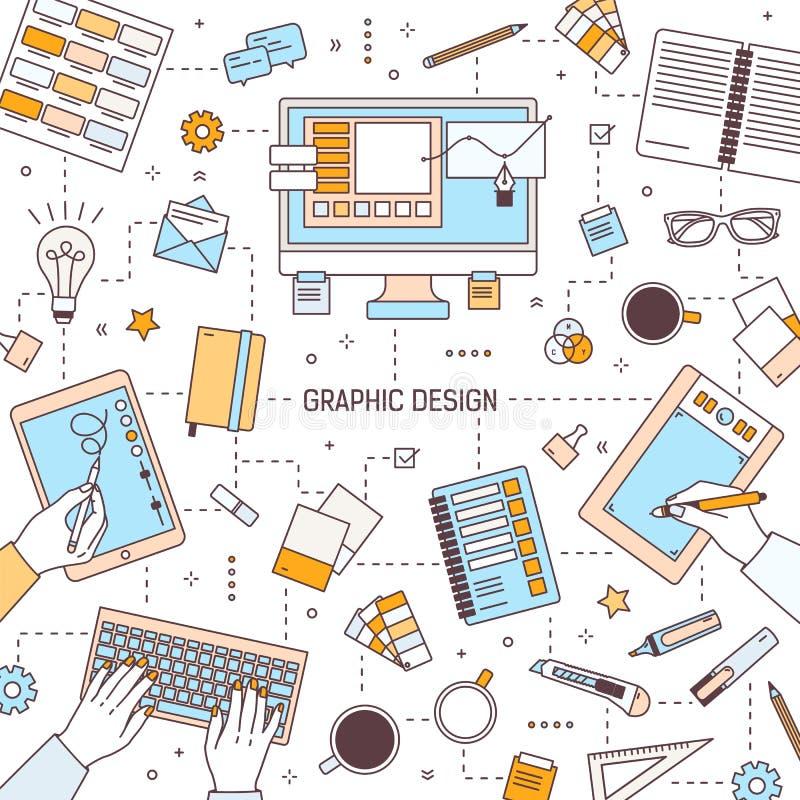 Kwadratowy sztandaru szablon z graficznym projektem, cyfrowymi sztuk narzędzia, projektanci pisać na maszynie na klawiaturze lub  ilustracja wektor