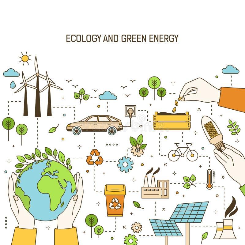 Kwadratowy sztandaru szablon z rękami trzyma planetę, lightbulb i ziarna otaczającymi, wiatrem i energii słonecznych roślinami royalty ilustracja
