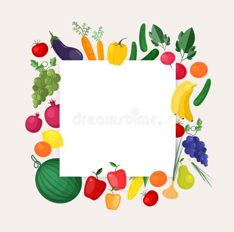 Kwadratowy tła lub sztandaru szablon z ramą robić świezi organicznie w okolicy r owoc i warzywo kolorowy ilustracja wektor