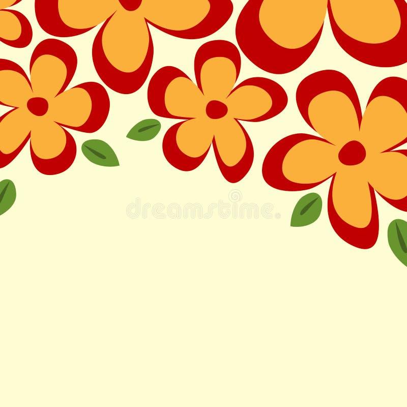 Kwadratowy tło z kwiecistą granicą Prości kwiaty i urlop ilustracji