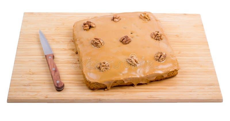Kwadratowy tort na a zdjęcie stock