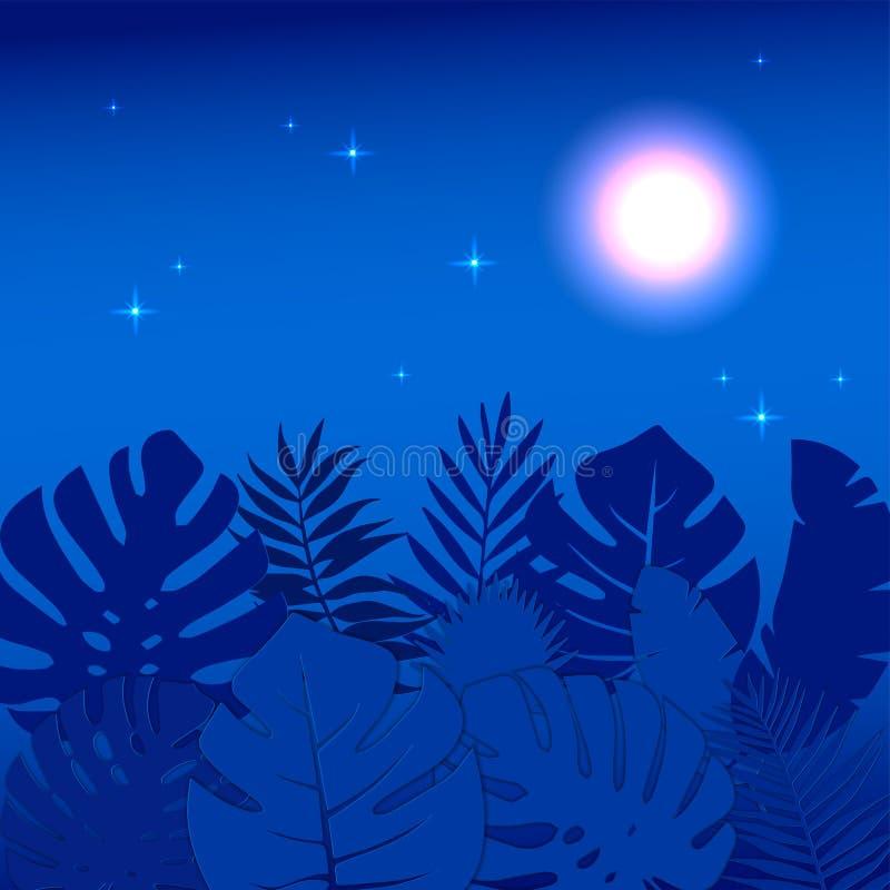 Kwadratowy tropikalny sieć sztandaru szablon z palmowymi liśćmi robić w 3D papieru cięciu i rzemiosło projektujemy Lato nocy dżun ilustracji