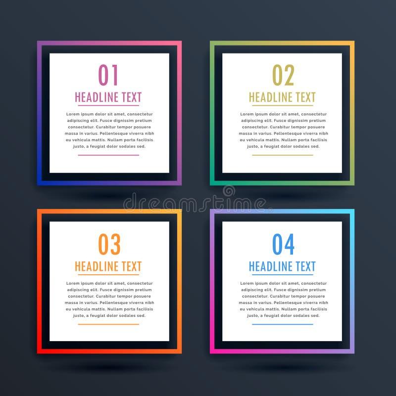 Kwadratowych opcj infographic projekt z cztery krokami ilustracji