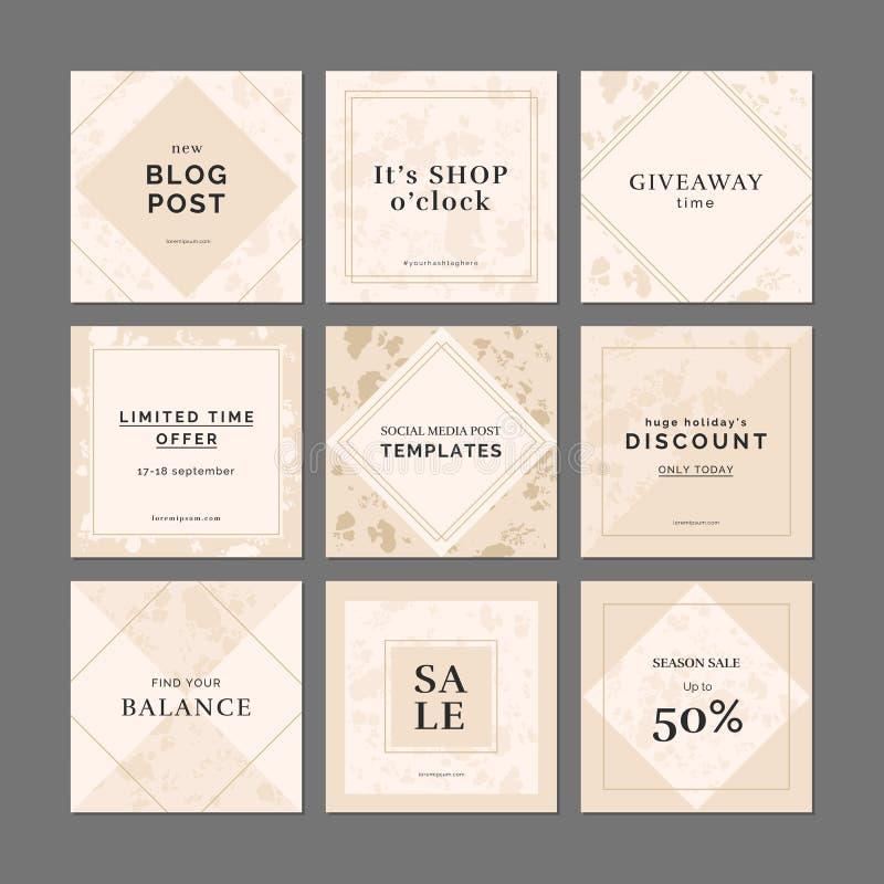 9 kwadratowych układów szablonów dla ogólnospołecznych medialnych apps ilustracji