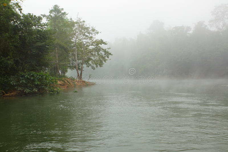 Kwai river. Morning with fog at the Kwai river. Thailand stock photography