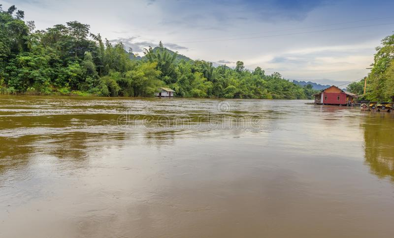 Into the Kwai River in Thailand. View inside the kwai River in Kanchanaburi Thailnad stock photos