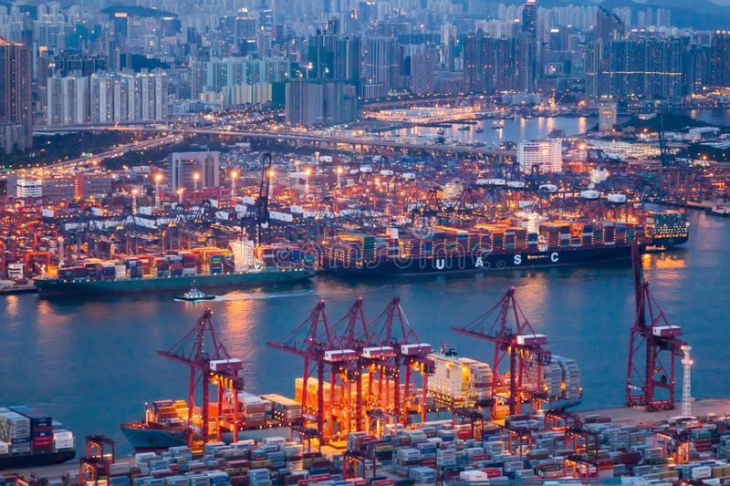 Kwai Tsing Container Terminals immagine stock