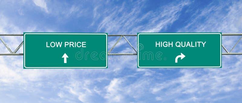 kwaliteit en lage prijs stock afbeeldingen