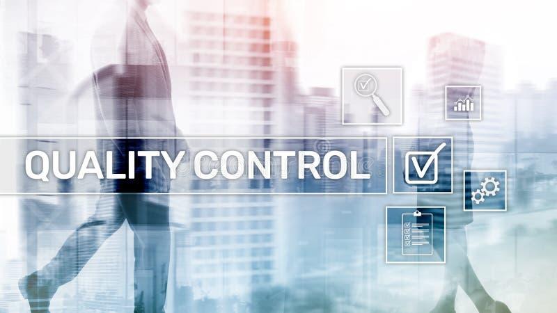 Kwaliteitscontrole en verzekering normalisatie waarborg normen Bedrijfs en technologieconcept stock afbeelding