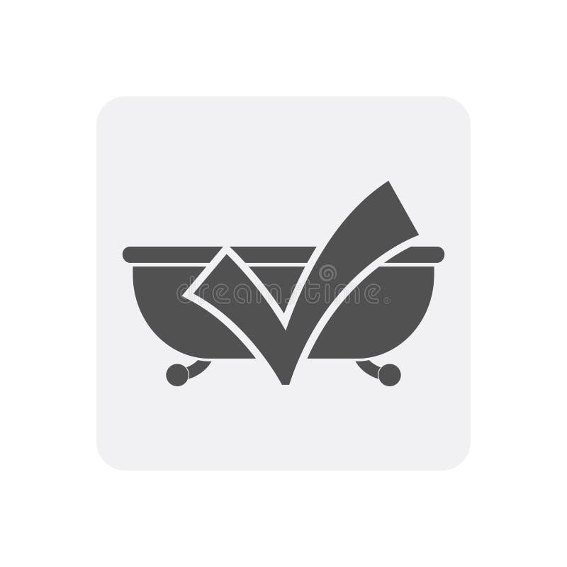 Kwaliteitscontrole thuis pictogram met badkuipteken royalty-vrije illustratie