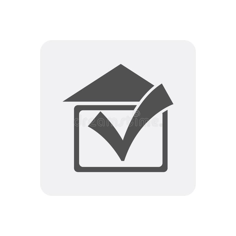 Kwaliteitscontrole thuis pictogram met onroerende goederenteken royalty-vrije illustratie
