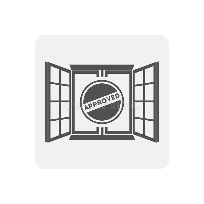 Kwaliteitscontrole thuis pictogram met vensterteken royalty-vrije illustratie